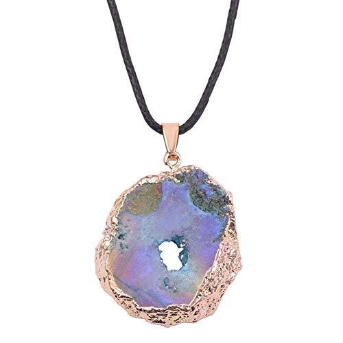 XIAOSO Unregelmäßige Form Gelegentlicher Versand!Buntes Natürliches Quarz-Stein-Stück-Hängende Halsketten Für Frauen-Goldschmuck-Geschenk Für Hochzeit