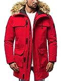 OZONEE Herren Winterjacke Parka Jacke Kapuzenjacke Wärmejacke Wintermantel Coat Wärmemantel Warm Modern Täglichen 777/572K ROT M