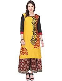 Varanga Flex Rayon Mustard And Black Printed Round 3/4 Sleeve Straight Kurta KF-MNMAW16101044_