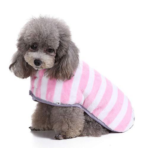Pink Stripes Dogs Coat mit Klettverschluss für den Winter, Simple Pet Jumpers Waschbare warme Kleidung für große mittelgroße Haustiere,Pink,XL
