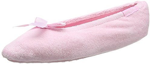 isotoner-terry-ballet-with-spot-bow-damen-flache-hausschuhe-pink-rosa-pink-grosse-small