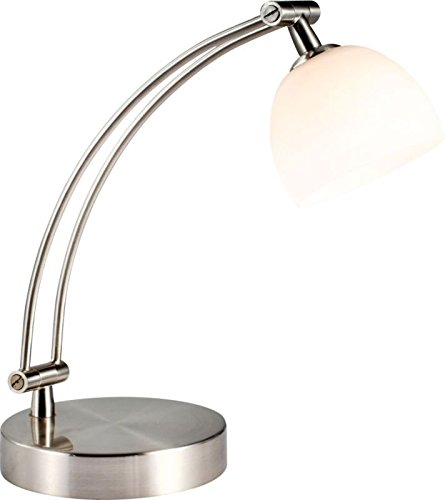 Schreibtischleuchte aus Metall 1 flammig mit Glas Schirm (Schreibtischlampe, Nachttischleuchte, Nachttischlampe, Tischleuchte, Tischlampe, Höhe 30 cm, Leuchtmittel 1 x 33 Watt, warmweiß, Leselampe) (Tisch Nickel Lampe Helle)