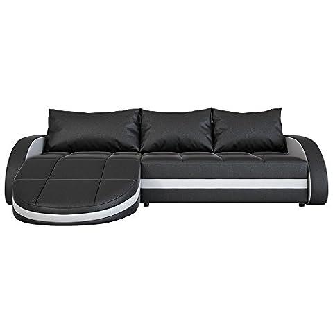 Eck-Sofa schwarz-weiß in Leder-Optik: Edle Designer Couch mit LED, großer 3 Sitzer, 265 cm breit, Leder-Sofa mit 156 cm tiefer Recamiere / Ottomane, links & rechts montierbar | Wohnlandschaft | Made in