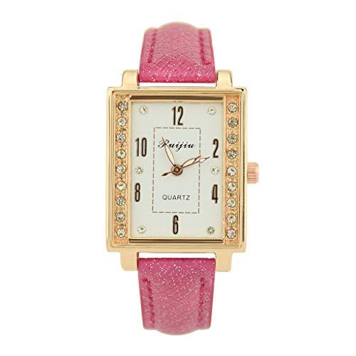 VECOLE Uhr Damen Elegante und stilvolle Luxusuhr mit arabischen Ziffern, Strass, quadratischem Zifferblatt, Lederarmband, Armbanduhr, Quarz-Analoganzeige(Rosa) - Uhren Diamanten Damen Ebel