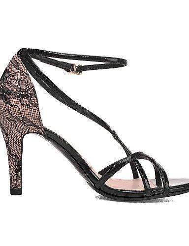 UWSZZ IL Sandali eleganti comfort Scarpe Donna-Sandali-Casual-Tacchi-A stiletto-Tulle / Finta pelle-Nero / Tessuto almond Black