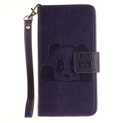 iPhone 7Case, Augus tcoco Embossed Panda Pattern PU Leather Flip Folio Kickstand Wallet Case with Card Slots and Wrist Strap for iPhone 7 Purple