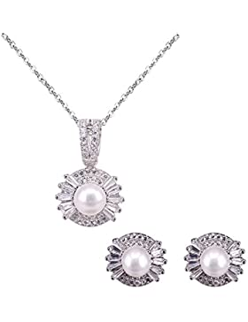BiBeary Damen elegant 925 Sterling Silber Zirkonia Süßwasser Zuchtperle edel Schmuckset Schmuck Set 1