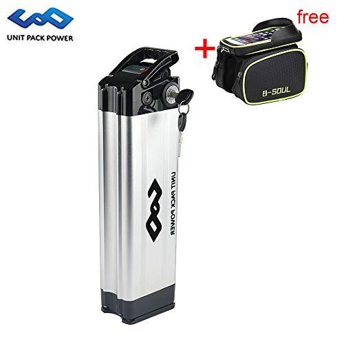 uppcycle Batería de Litio para Bicicleta eléctrica, batería para Peces Sliv 36V 10AH + 42V 2A Cargador + Pantalla LED...