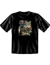 Indianistik Dreamcatcher Wolf T-Shirt Tribesman in schwarz