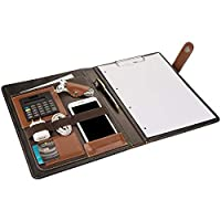 2K 7001 Sekreterlik A4 Suni Deri Telefon Kılıflı El Portföyü Sekreter Notluğu Hesap Makineli, Kahverengi