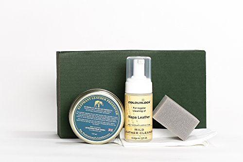 COLOURLOCK Leather Cleaner & Wax (Elephant Leather Preserver) Kit for furniture, car seats, handbags, jackets and accessories (Mild Cleaner)