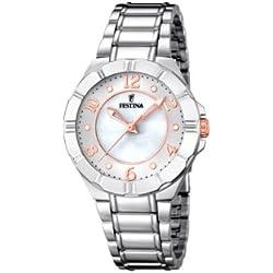 Festina F16726/1 - Reloj de cuarzo para mujer, con correa de acero inoxidable, color plateado
