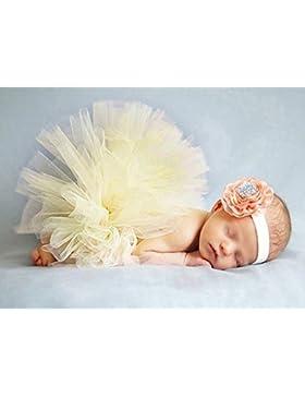 Butterem Neugeborene Baby Säugling Fotografie Stütze Kostüm Outfits Tutu Rock Outfits Blume Stirnband Set, Hellgelb