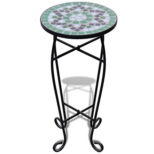 Mosaic Side Table Plant Table Green White