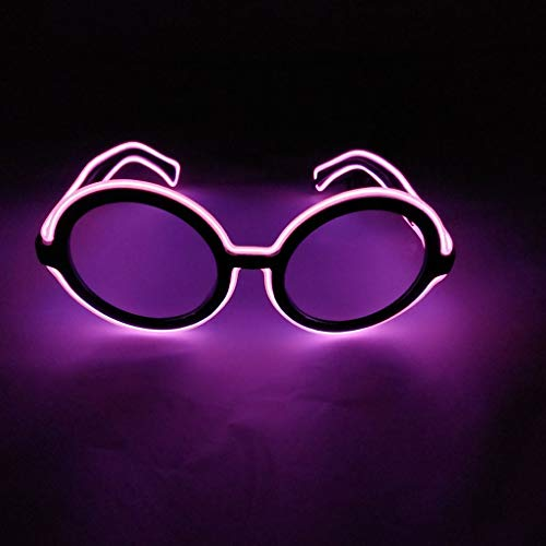 Fcostume EL LED Club Party Leuchtengläser Brillen Bright Flashing Brill Battery Box C (Violett)
