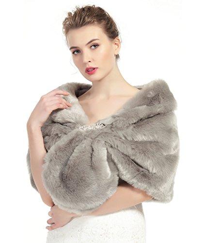 Beautelicate donna pelliccia faux scialle coprispalle giacca sciarpa wrap cape perfetto per matrimonio partito spettacolo con spilla libera
