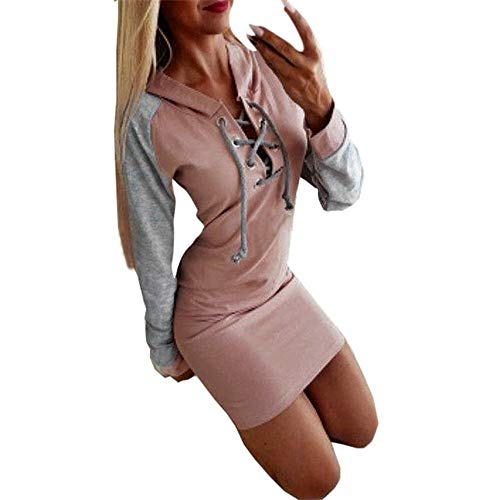 Millenniums Sweats à Capuche Mini Sexy Robe Bandage Confortable Pulls Streetwear Spotlight Chic Cool Street Fashion Sweat Mode Femmes Hiver Survêtement (Gris, XL,40)