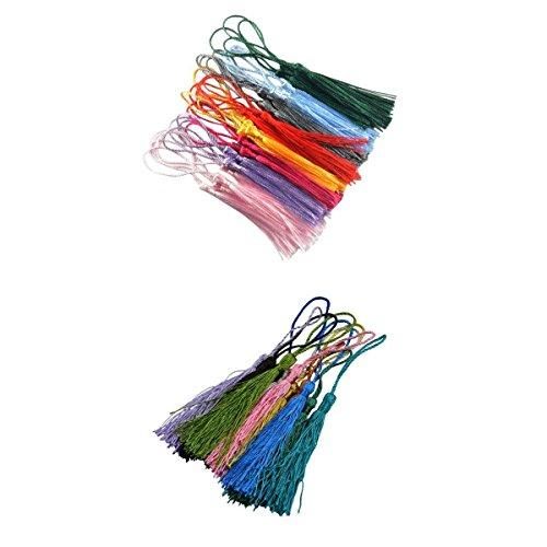 non-brand MagiDeal 42 Stück Mischfarben Seidig Quaste Charme Für DIY Schmuck Halskette Machen - Gewaschen Nylon-kappe