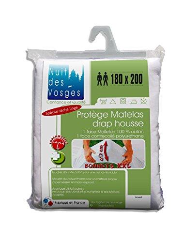 Nuit des Vosges Arnaud Protector de colchón Impermeable sábana Bajera 180x 200cm con Gorros Extra-larges 40cm algodón, 200x 180cm, Color Blanco