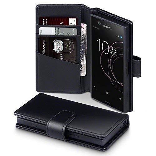TERRAPIN, Kompatibel mit Sony Xperia XZ1 Compact Hülle, [ECHT Leder] Brieftasche Case Tasche mit Standfunktion Kartenfächer & Bargeld - Schwarz
