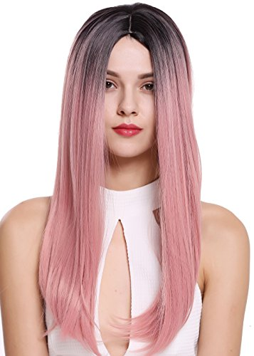 T2312R1B Damenperücke Perücke Mittelscheitel lang glatt Ombre Schwarz Rosa Pink ()