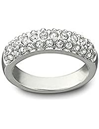 Hecho con Swarovski Elements Cubic Zirconia oro blanco de 18 quilates chapado en anillo de compromiso