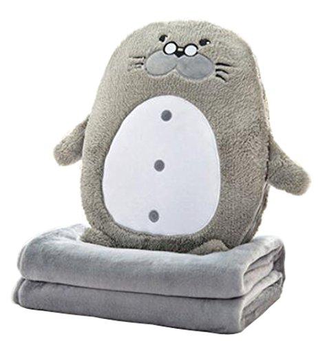 40cm Nettes weiches Seelöwe-Kissen-Spielzeug-Handwärmer-Wurfkissen-Rückseiten-Kissen + Korallen-Samt-Decke