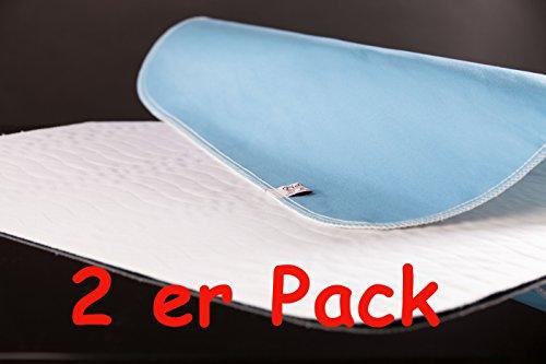 2er Pack blau/weiß CA3304 Inkontinenzunterlage 90x75cm von Castejo waschbar Inkontinenzauflage- Matratzenschutz nur einmal Porto