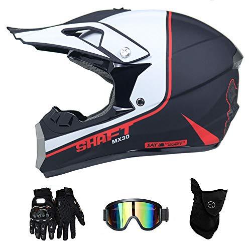 RAON Erwachsener Motocross Helm MX Motorradhelm ATV Scooter ATV Helm D.O.T Zertifiziert Multicolor mit Brille Handschuhe Maske (S, M, L, XL),Snowflake,S(52~53cm) -
