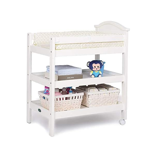 Changing Table Changing Table Storage and Bath Foldable Nursery Changing Unit for Infant Portable Baby Changer Diaper Station Dresser (Color : White) Changing Table ●Size and Safe and Stable- 86×55×105cm/ 33×22×41 inch,Suitable for babies weighing less than 25kg,With seat belt,Changing pad has a restraining strap for added safety and is made of easy to clean, soft ●2-in-1 design- Baby changing table can be used as baby massaging table as well. It is designed at the proper height of parent to prevent mom's back aches and pains from kneeling or bending when changing diapers to babies. ●Premium materials - Using high-quality materials for our 2 in 1 infant changing table,Reinforced wood,it is durable and stable for long time daily use,And easy to clean and maintain. 1