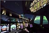 Stampa su Tela 100 x 70 cm: Airbus A380 Cockpit with Polar Lights di Ulrich Beinert - Poster Pronti, Foto su Telaio, Foto su Vera Tela, Stampa su Tela