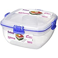 Sistema To Go Salad with Dressing Pot and Cutlery, 1 L - Clear/ Dark Blue