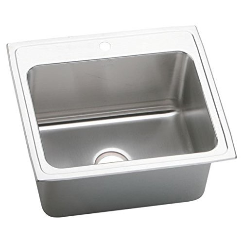 Elkay DLR2522122 2-Hole Gourmet Lustertone Stainless Steel Single Basin Top-Mount Kitchen Sink, 25-Inch x 22-Inch by Elkay