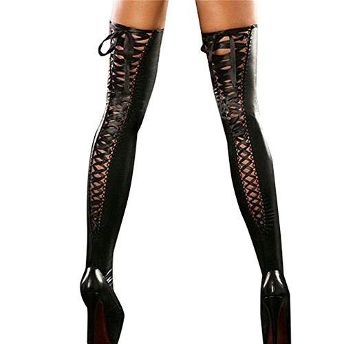 Damen Wetlook Strümpfe Overknee Halterlose Latex Lange Strümpfe mit Bandage