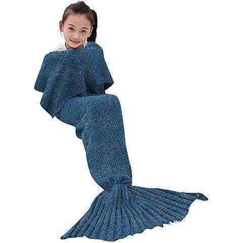 BIBO Crochet della mano a maglia Sirena Coda Coperta, All Seasons Sofa Quilt Soggiorno coperta, sacco a pelo per i bambini(Kid Thick Lake Blue)