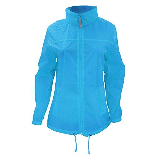 B&C Sirocco Lightweight Damen Jacke, besonders leicht, wasserabweisend XS,Helltürkis (Bc Kapuze)