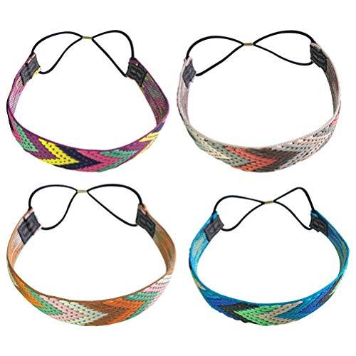 Lurrose 4 stücke Weiche Hand Stricken Haarbänder Mode Böhmen Bunte Elastische Schmale Stirnbänder Haarschmuck für Frauen Mädchen -
