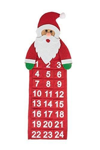 Calendario de Adviento Colgante - Cuenta atrás de 24 días hasta Navidad - Estilo clásico - Ideal para el hogar o la Oficina - Tela - Papá Noel Rojo - 55,9 cm
