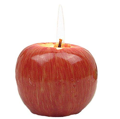 Outflower Vela artesanal con diseño de manzana, decoración de Navidad, 2, 7*7*5.5CM