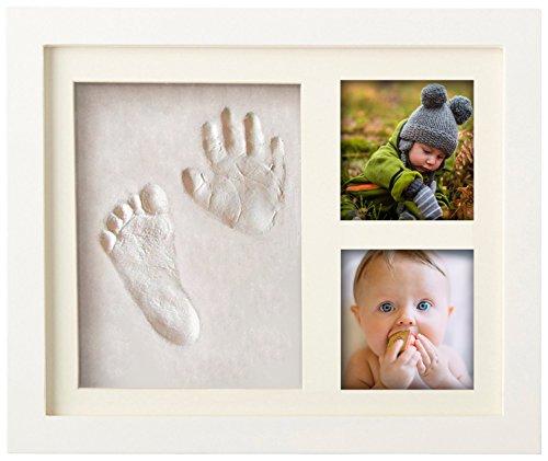 Premium Baby Hand und Fußabdruck Set von Pookie Boo zum selber machen - mit Echtholz Bilderrahmen, Acrylglas & Platzhalter für 2 Babyfotos - Perfekte Geschenkidee für Kleinkinder, Mütter und Väter