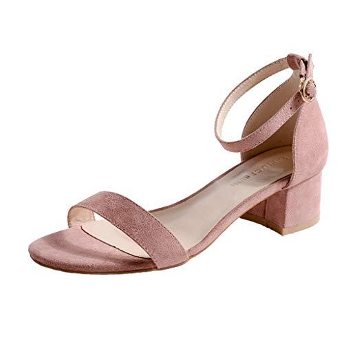 GENLLV Frauen Low Mid Block Heel Sandalen Wildleder Peep Toe mit hohen Absätzen Riemchen Schnalle Schuhe Daily Party Lady Einfache runde Kappe Pumps,Pink-34EU -