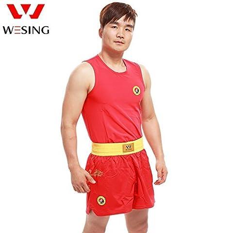 De Wushu SANDA SANDA (Art Martial) uniforme Vêtements Ensemble avec un certificat Iwuf Dragon Imprimé par Weisng, Red