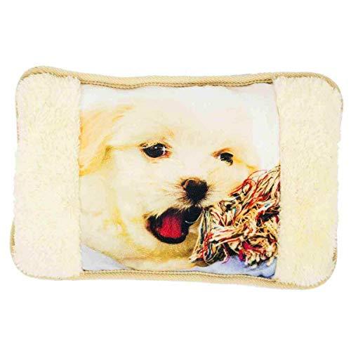 Enrico coveri collection borsa acqua calda elettrica in morbido tessuto, scaldamani imbottito con disegno animali, perfetto anche come regalo (beige)