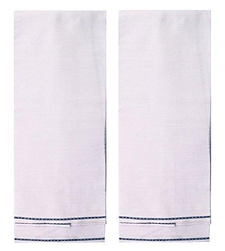 SAJANI Men's Cotton Lungi/Sarong (White, 2.5 m) - Pack of 2