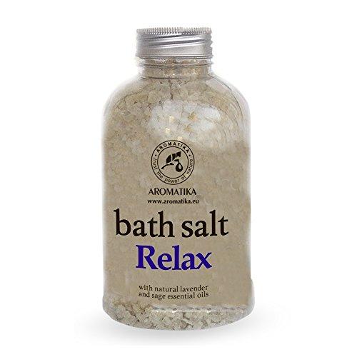 Aromatika Badesalz Relaxing, Meersalz mit natürlichem ätherischen Lavendelöl und Salbeiöl, natur Bade-Salz am besten für guten Schlaf /Stressabbau / Beauty/ Baden /Körperpflege /Wellness /Schönheit /Entspannung / Aromatherapie/SPA, Badezusatz - 1er Pack (1 x 600 g), von