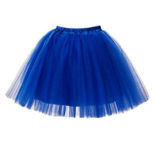Honeystore Damen's Mini Tutu Ballett Mehrschichtige Rüschen Unterkleid Rötlich-Blau