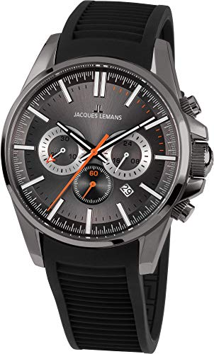 Jacques Lemans Liverpool Homme 44mm Bracelet Silicone Quartz Montre 1-1799M