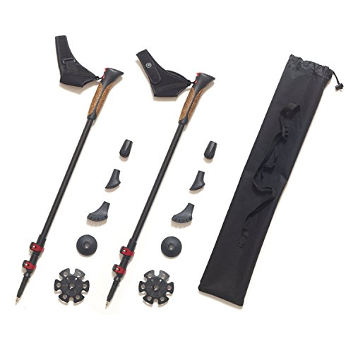 Premium 100% Carbon Nordic Walking Stöcke verstellbar mit Teleskop und Klemmverschluss mit extra Gummipuffer und Tragebeutel
