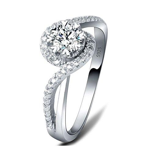 Beydodo 925 Sterling Silber Ring Herz mit Zirkonia Solitärring Silberringe Hochzeitsring Partnerringe Gr 57 (18.1) (Jill Valentine Kostüm)