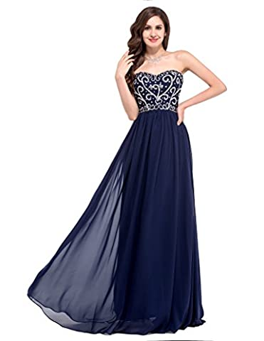GRACE KARIN® Bridesmaids Bandeau Lace Up Back Chiffon Dress Bridal Wedding Gowns with Appliques Evening Prom Dress 6 Colors (14, Style 2 Navy Blue)